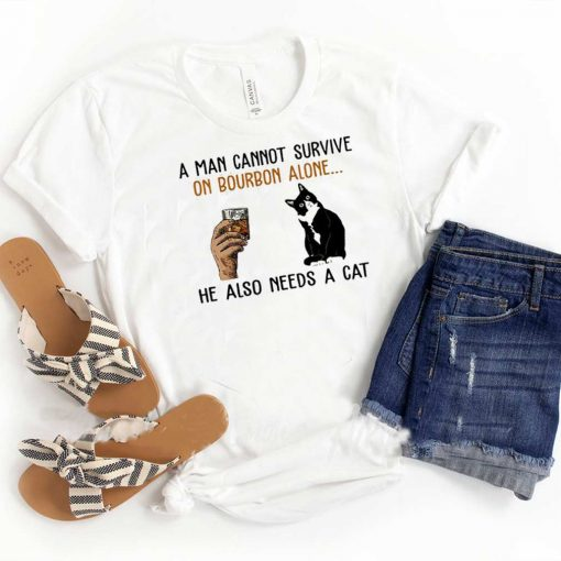 A Man Cannot Survive On Bourbon Alone He Also Needs A Cat Vintage Shirt