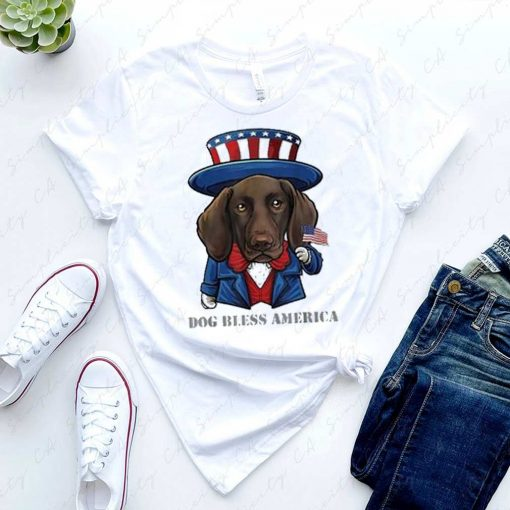 Dog Bless America German Shorthaired Pointer Dog 4th Of July Shirt