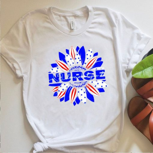 Nurses American Flag Sunflowers Happy 4th of July Day T Shirt