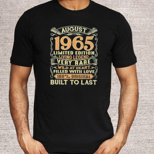 Vintage 55 Years Old August 1965 55th Birthday T Shirt
