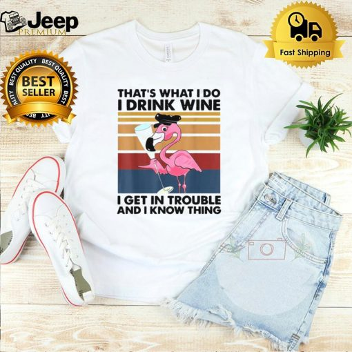 Flamingo Thats What I Do I Drink Wine I Get In Trouble And I Know Things Vintage T shirt