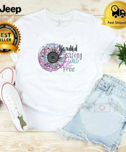 Hippie Beautiful Strong Wild and Free Tied Dyed Sunflower Shirt