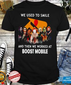 Horror Halloween we used to smile and then we worked at Boost Mobile shirt