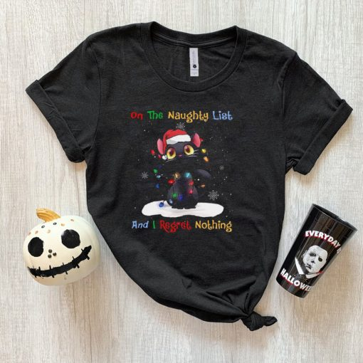 Cat On Naughty List And I Regret Nothing Christmas T shirt